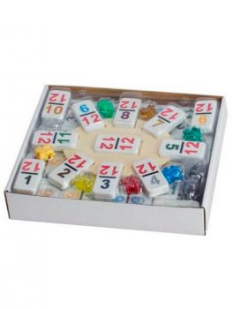 DOMINOES-DOUBLE-12-PROFESSIONAL-SIZE-COLOR-NUMBER-WHITE-TILE-SET-OF-91-PCS